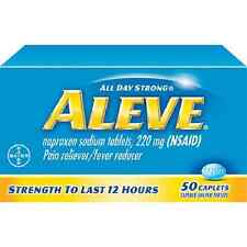 2 BOXES ALEVE CAPLETS OR TABLETS 50 CT 220 MG PAIN RELIEVER/FEVER REDUCER X3/16+