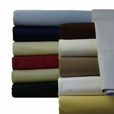 Twin-XL Cotton Sheets, Luxury 300 TC Solid Sheet Set (Available in 14 Colors)