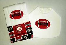 New Handmade Personalized Red Football Baby Boy Bib And Burp Cloth, Burp Cloths