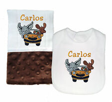 New Handmade Personalized Brown Baby Boy Car Theme Bib and Burp Cloth Set