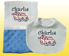 New Minky Personalized  Handmade Blue Baby Boy Bib Burp Cloth, Burp Cloths Set