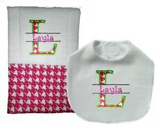 New Personalized Handmade Pink Girl Baby Bib Burp Cloth, Set Of 2 Burp Cloths