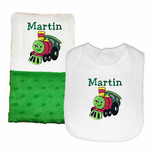 New Handmade Personalized Baby Boy Green Train Theme Bib and Burp Cloth Set