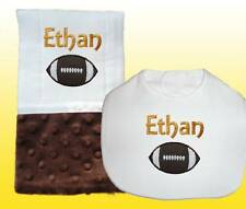 New Blue Personalized Handmade Baby Boy Brown Football Bib and Burp Cloth Set