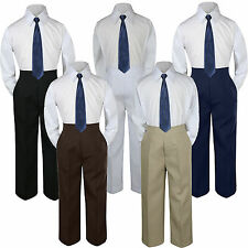 3pc Boys Suit Set Navy Blue Necktie Baby Toddler Kid Pants Uniform S-7