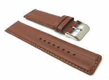GENUINE LEATHER PADDED REPLACEMENT WATCH STRAP BAND MENS STAINLESS STEEL BUCKLE