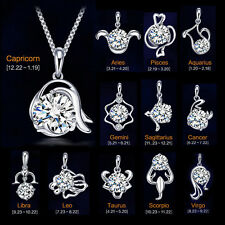 925 Sterling Silver 12 Zodiac Constellation austrian crystal  Necklace Pendant