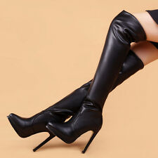 Womens Sexy Over Knee Thigh Boots Stilettos High Heel Pointed Toe Stretchy Boots