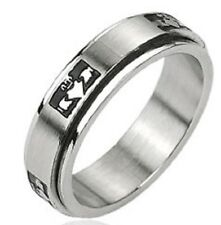 Stainless Steel Ring Claddagh' Crowned Holding Heart Center Spinner Ring 316L