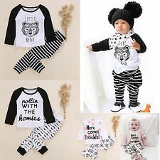 Kids Baby Boys Girls Infant Outfits Clothes T-shirt Tops+Pants Trousers 2PCS Set