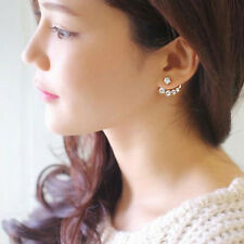 Hot Fashion Women Girls Pearl Rhinestone Crystal Asymmetric Ear Studs Earrings