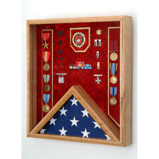 Fireman Flag And Medal Display Case- Shadow Box Hand Made By Veterans