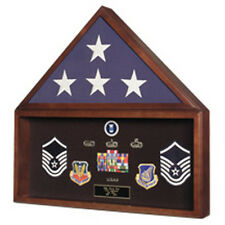 Large Military Flag And Medals Display Case In Cherry Hand Made By Veterans