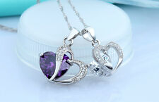 925 solid Sterling Silver heart crown austrian crystal Necklace Pendant