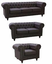 Chesterfield Brown Bonded Leather Tufted Buttons Scroll Arms Sofa-5 Sizes Option