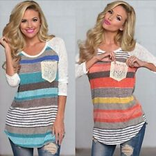 Fashion Womens Ladies Casual Loose Tops Long Sleeve T-Shirt Summer Stripe Blouse