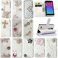 Fashion DIY Bling Diamond Crystal PU Leather Wallet Case Cover Skin For Sony