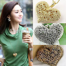 Hot Sale Retro Vintage Silver Bronze Hollow Heart Flower Pendant Long Necklaces