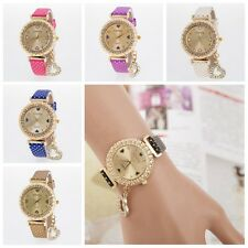 Women Bangle Bracelet Smooth Band Crystal Dial Quartz Analog Wrist Watch Hot