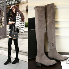 Sexy Womens Over Knee Suede Stretch Thigh High Slouchy Flat Heel Boots Shoes New