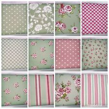 Clarke and Clarke Mix Match Sage Green Pink Floral Stripe Spot Cushion Cover