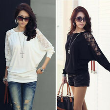 New Womens Lady Long Sleeve Casual Dolman Splice Lace Loose T-Shirt Batwing Tops