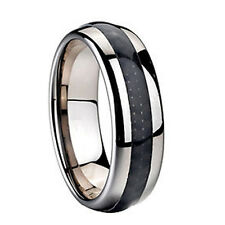 8mm Dome Tungsten Ring Wedding Band Black Carbon Fiber Inlay Mens Womens 7 - 15