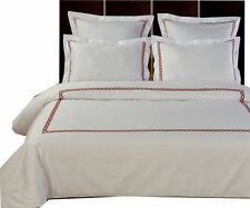 Amy White &Chocolate Soft Comforter Cover,Cotton 5PC Embroidered Duvet Cover Set