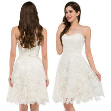 Formal Evening Party Prom Dress Cocktail Lace Ivory Short Strapless Homecoming
