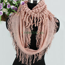 Fashion Women's Winter Warm Wool Hollow Out Tassel Soft Infinity Cowl Scarf New