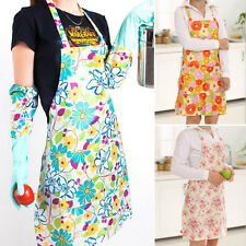 Fashion Womens Girls Floral Kitchen Bib Apron with Pocket Cooking Aprons Gift