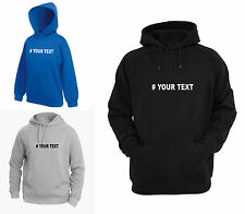 FRUIT OF THE LOOM HOODIE PERSONALISED PRINTING HASH TAG # YOUR TEXT CUSTOM WEAR