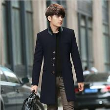 Fashion Men Stand Collar Single Breasted Woolen Coat Jacket Winter Warm Casual