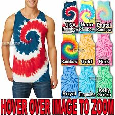 Mens Tie Dye Tank Top Spiral Tye Die Sleeveless T-Shirt S-XL 2X, 3X, 4X NEW!