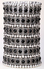 Stretch cuff bracelet bridal wedding party bling jewelry gifts for her A1 6 row