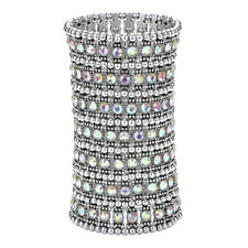 Stretch cuff bracelet bridal wedding party bling jewelry gifts for her A1 7 row