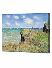 The Cliff Walk At Pourville by Monet Giclee Print, Canvas Gallery Wrapped 20x16