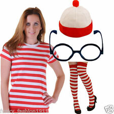 Ladies World Book Week Wheres Red & White Striped T-Shirt Top Fancy Dress Lot