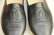 New Chanel 2016 16C Classic Black Lambskin CC Logo Espadrilles Flats Shoes 41 40