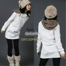 Women Fleece Hoodie Jumper Sweatshirt Leopard Tops Sweater Pullover Outwear Coat