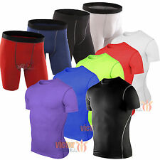 Mens Compression Shirt Athletic Armour Base Layer Shorts Top Thermal Pants S-2XL