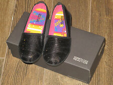 NEW Kenneth Cole Reaction Kids Girls Black Stage Kite QS Flats Size 3 / 3.5 / 4