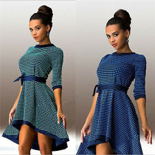 HOT Womens Party Bodycon Belted Dress Ladies Evening Polka Dot Cocktail Dresses