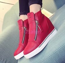 Womens High Top ZIp Hidden Wedge Heel Sneakers Ankle Boots Faux Leather Trainers