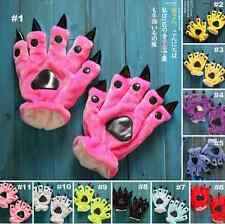 Unisex Onesies Animal Warm Plush Furry Gloves Cosplay Claw Paw Prop Gloves new