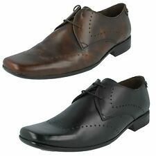 SALE MENS BASE LONDON RELATE WAXY BLACK RUB BROWN LEATHER LACE UP FORMAL SHOES