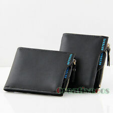 Men PU Leather Bifold Zipper Wallet Pockets Credit/ID Card Clutch Coin Purse New