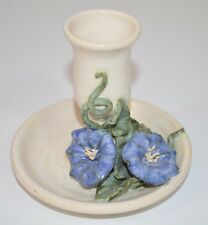 Pottery Candle Holder White w/Blue Flowers Hand Thrown Studio Art