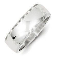 .925 Sterling Silver 7mm Half Round Milgrain Wedding Band Solid Ring Size 4 - 12