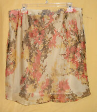 Anne Klein multi beige brown coral mustard floral ruched lined dress skirt $89